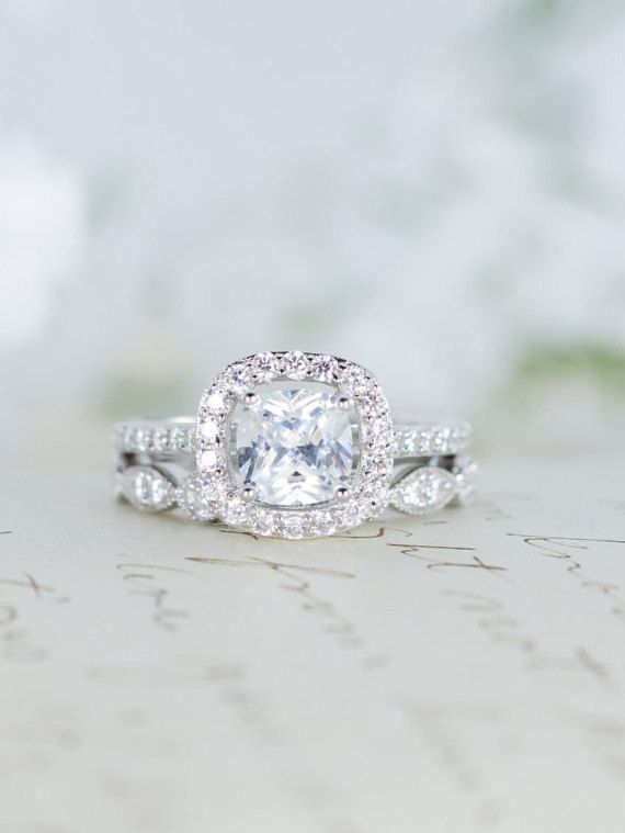 Halo Wedding Set - Engagement Ring - Wedding Ring - Cushion Cut Ring - Sterling Silver -  Vintage Inspired - Cubic Zirconia Ring - CZ Ring