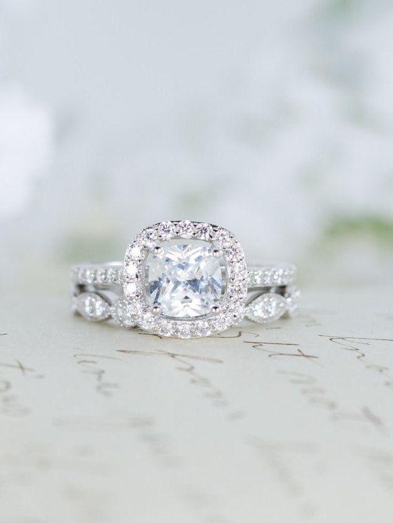 Halo Wedding Set Engagement Ring Wedding Ring by MochaRings
