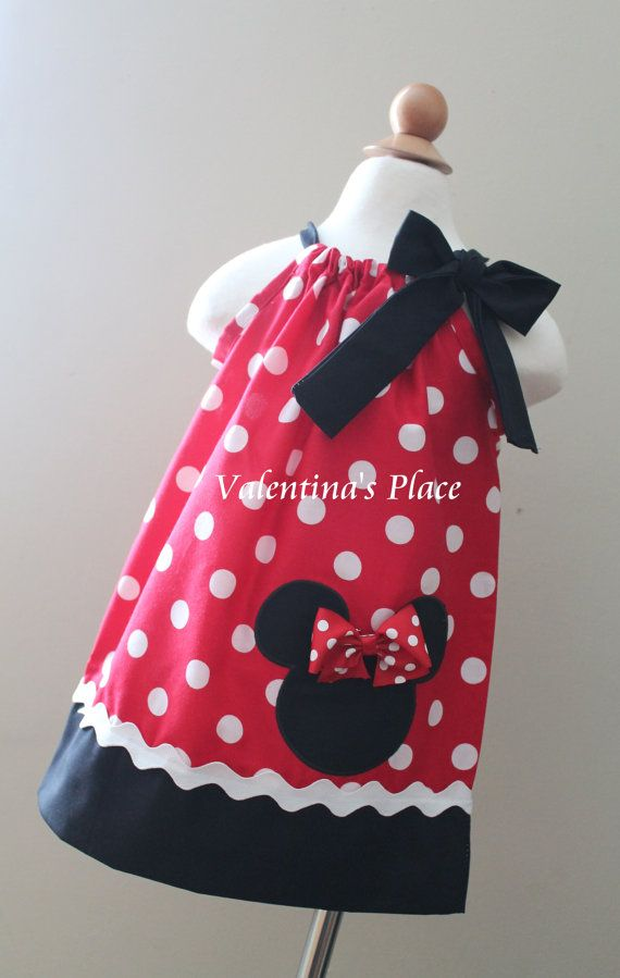 Minnie Mouse in red and white polka dot pillowcase dress (Also available in pink)