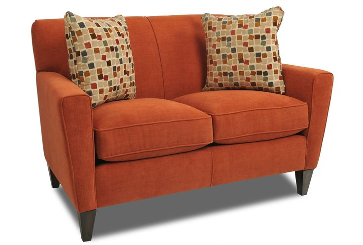 Bedecked In A Bold Orange Hue The Gatsby Loveseat Is Tailored With Welting That Adds Dimension