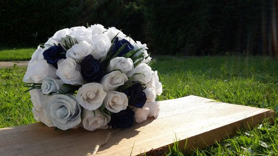 Blue Light Blue White Wedding Bouquet crepe paper by moniaflowers