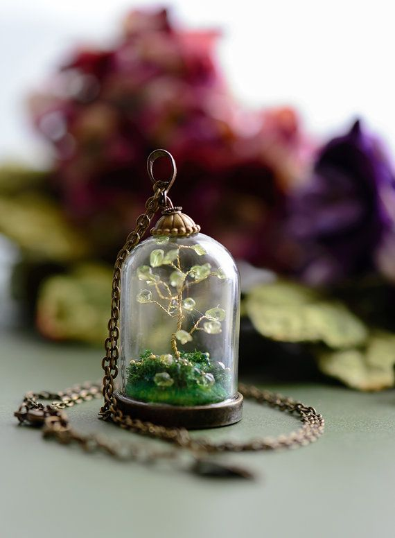 Peridot Steampunk Pendant miniature bonsai by singlewhitepixel, $360.00