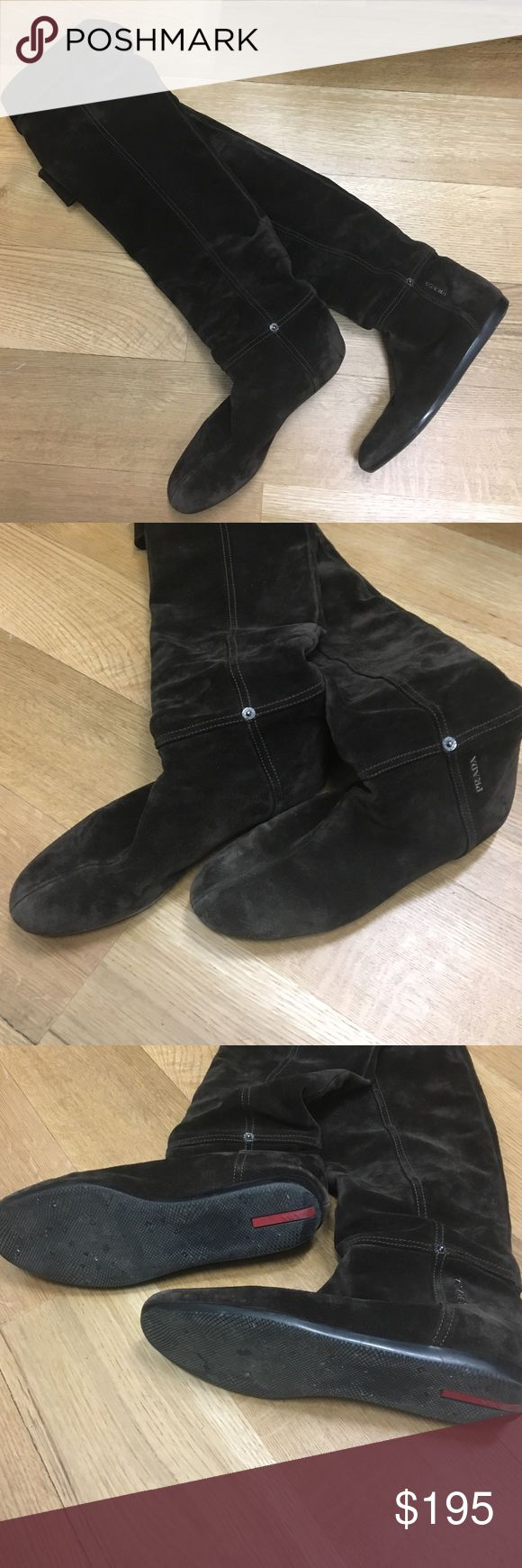 Prada brown suede over the knee boots! Amazing Prada brown suede over the knee boots! These are beautiful! Prada Shoes Over the Knee Boots