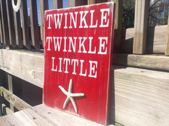 Beach Baby Nursery Sign Twinke Twinkle Little Starfish Coastal Decor via Etsy (maybe try to do this myself in yellow or orange).