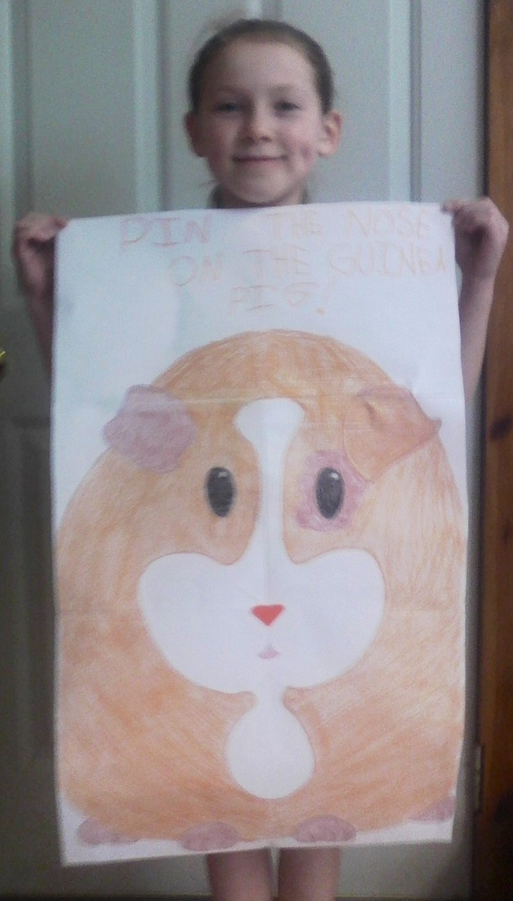 Pin the Nose on the Guinea Pig game for Charlize's birthday party