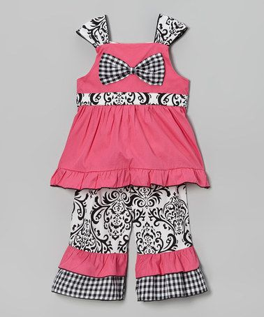 Another great find on #zulily! Pink & Black Casey Top & Ruffle Pants - Infant, Toddler & Girls #zulilyfinds