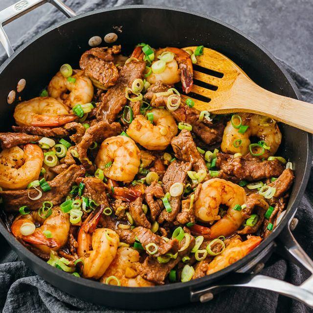Asian Surf And Turf Shrimp Beef Stir Fry Recipe Savory Tooth Easy Steak Recipes Beef Stir Fry Recipes Steak And Shrimp