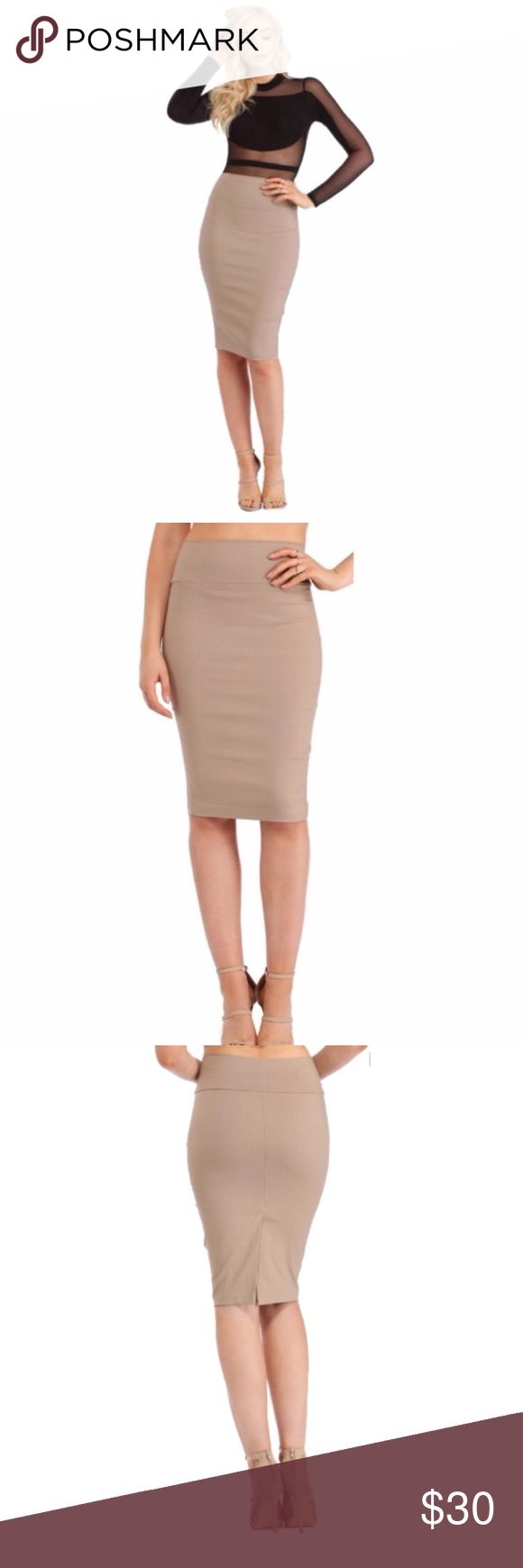 "Windsor High Waisted Pencil Skirt BRAND NEW WITHOUT TAGS. Purchased but never worn! Perfect for work or a night out with the girls! Great pencil skirt with slit in the back. Pair with a cardigan during office hours, then pair with a nice top for after hours!   Model is 5'9 with a 32"" bust, 24"" waist and 34"" hips. She is wearing a size small.  75% Rayon, 22% Nylon, 3% Spande Windsor Skirts"