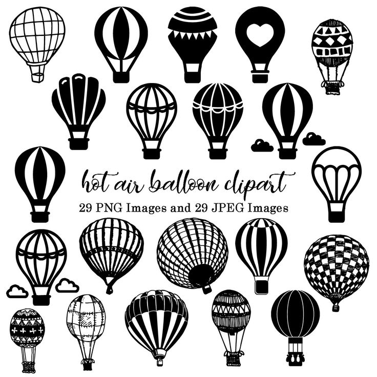 Hot Air Balloons Silhouette Clipart Birthday Invitations Etsy Clip Art Air Balloon Balloons