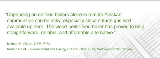 """""""Depending on oil-fired boilers alone in remote Alaskan communitiescan be risky, especially since natural gas isn't available up here. The wood-pellet-fired boiler has proved to be a straightforward, reliable, and affordable alternative"""""""
