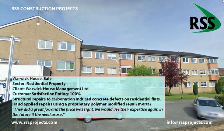 Structural repairs to carbonation induced concrete defects on residential flats. Hand applied repairs using a proprietary polymer modified repair mortar. http://www.rssprojects.com/Case Studies/warwick-house-sale