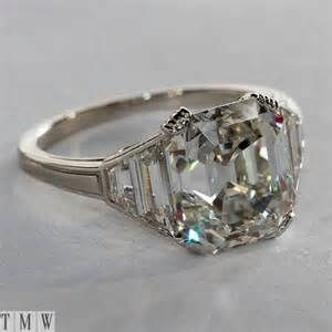 Image detail for -Vintage Sterling Silver Asscher Cut Cz Diamond Engagement Ring 4ct