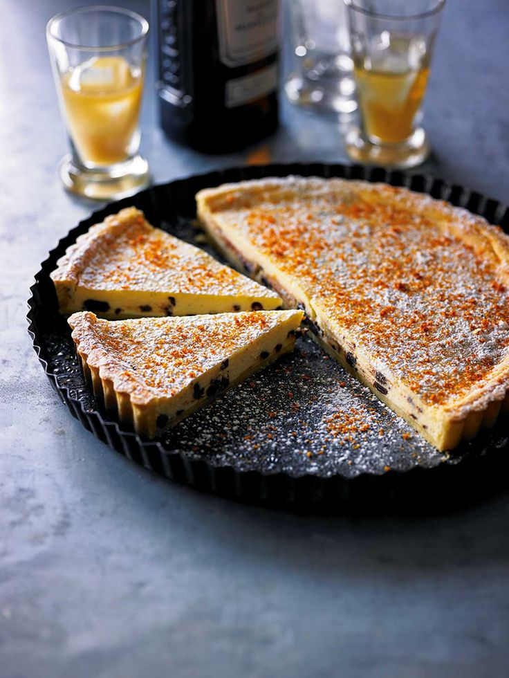 Ricotta, orange, chocolate and pastis tart