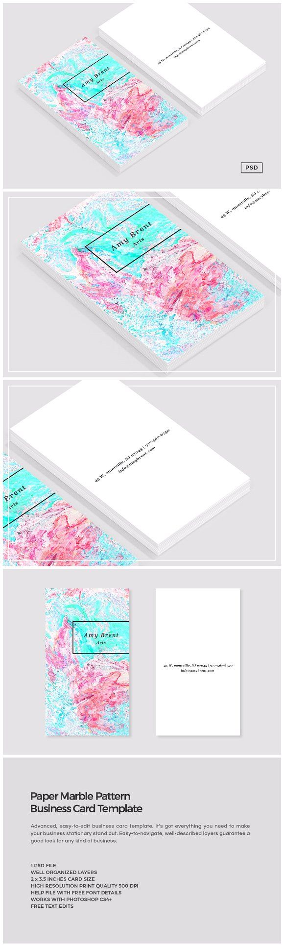 78 best business card designs images on pinterest card templates paper marble pattern business card by the design label on creativemarket magicingreecefo Images