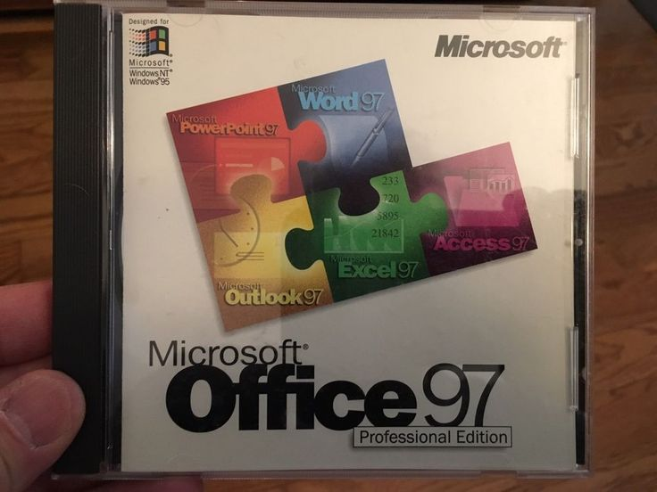 Microsoft Office 97 Professional Edition - CD with KEY on back #Microsoft