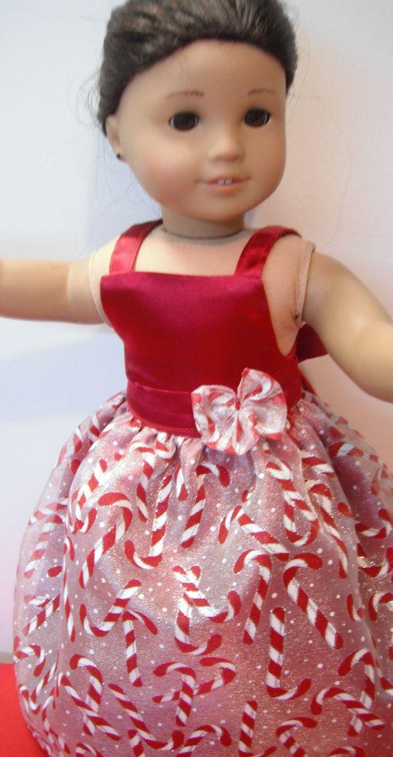 Holiday dress fits dolls like American by NanaJerrisCreations, $20.00