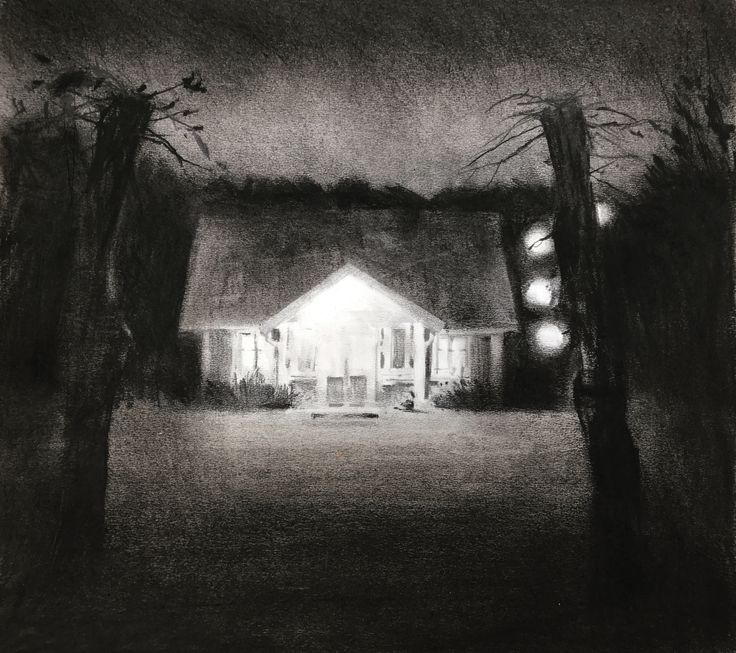'Night garden', charcoal and graphite. Magnus Petersson, 2017.