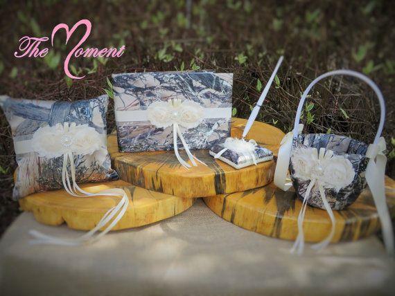Camo Wedding Set Wedding Flower Girl Basket by TheMomentWedding