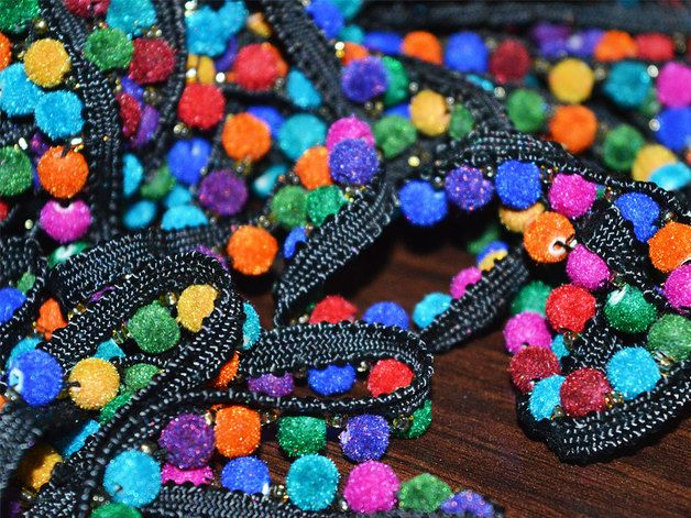 Multicolor Velvet Beaded lace is perfect embellishment for a bridal dresses or for festive mood outfit. Fringe Acrylic Beaded Lace will add mystique to your fabric, you can use this lace alone or...