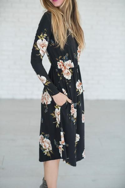 Hannah Floral Dress - Mindy Mae's Market \ floral, floral dress, dress, cute dress, black floral, shop, style, fashion, cute outfit, fall outfit, outfit idea, booties, hybrid booties, boutique