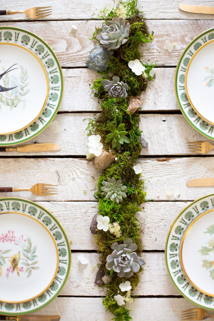 b.Willow designed wedding centerpiece. Moss table-runner with loose succulents, mini terrariums and mica flakes.