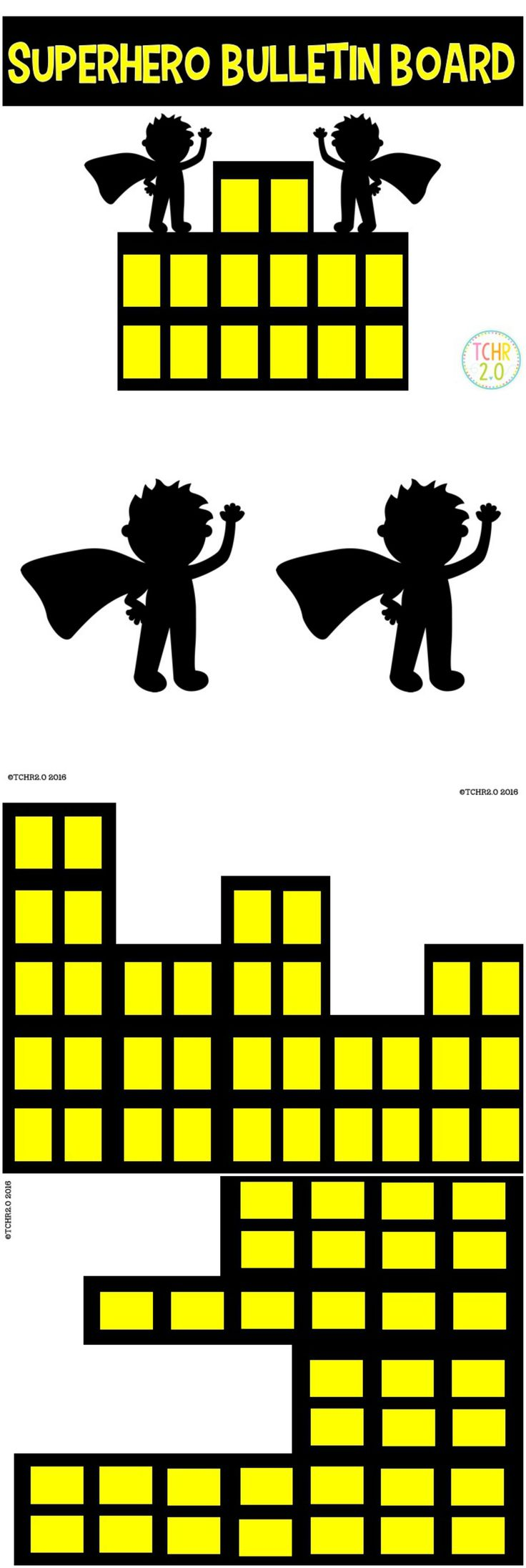 You can use this product to create a superhero bulletin board. Use white crayon to put student names on the cape of the black silhouette. Great for back to school display!