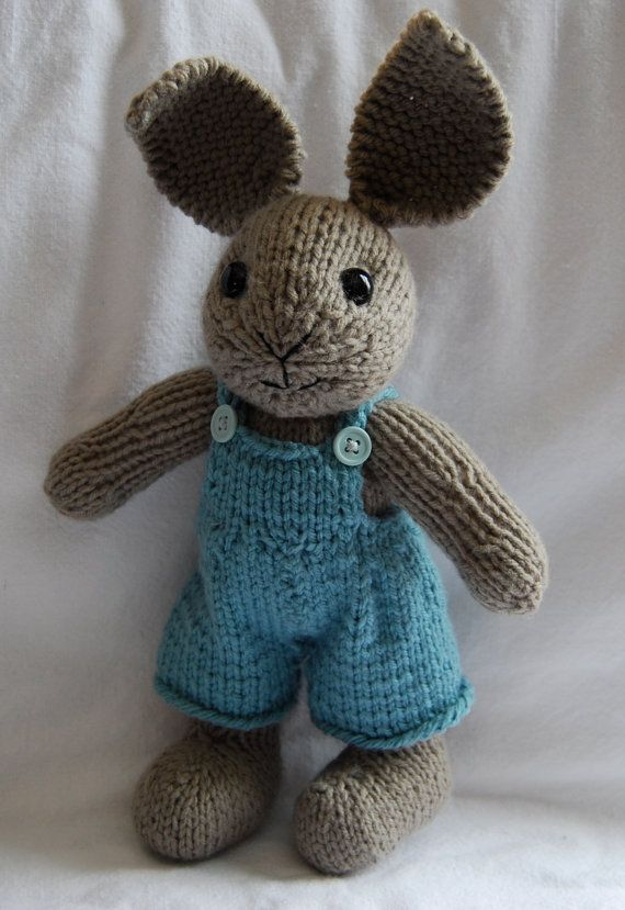 Hand Knit Boy Bunny Stuffed Toy With Overalls Knitting