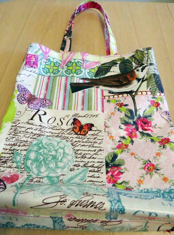 Shopping Bag Tote Bag Laminated Cotton Bag by HoneyMyrtleStudio