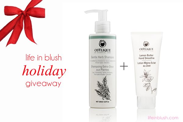 International Giveaway! For your chance to win a bottle of Odylique award-winning Gentle Herb Shampoo and Lemon Butter Hand Smoothie head to lifeinblush.com to enter. A winner will be chosen December 17, 2014. Good luck!