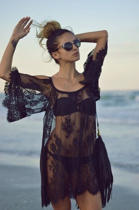 Crotchet Lace Black Cover-Ups Cut Out Shoulder | Get it on Global Lover
