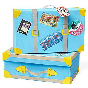 Turn an old shoe box into a suitcase - make one to hold things for each continent (books, info cards, plastic animals, map, etc)  Use this as a Pre-K idea for Aaron.  Include a snack, and costume as well