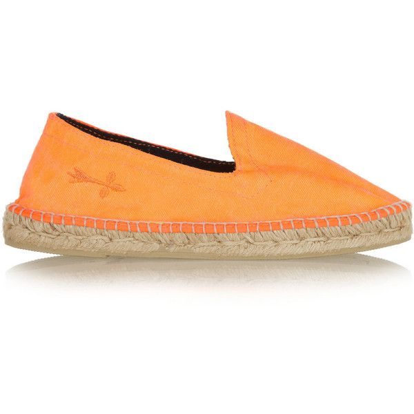 Manebi Ibiza neon canvas espadrilles (726.265 VND) ❤ liked on Polyvore featuring shoes, sandals, orange, espadrille sandals, slip on sandals, neon canvas shoes, neon orange shoes and round cap