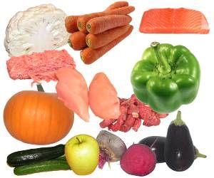 kalafior, marchewka, marchew, łosoś, filet z łososia norweskiego, ryba, mięso mielone, wieprzowe, wołowina, pierś z kurczaka, papryka słodka zielona, dynia, cukinia, jabłko, burak czerwony, bakłażan