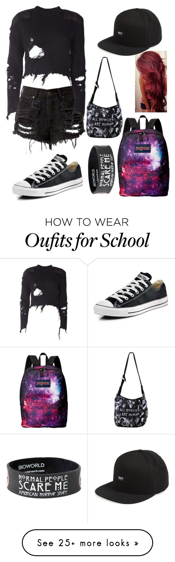 """""""School outfit"""" by musiclover135 on Polyvore featuring Converse, JanSport, adidas Originals and OBEY Clothing"""