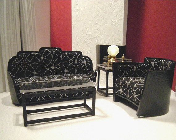 Art deco Living room Suite for Dollhouse | Mini dollhouse