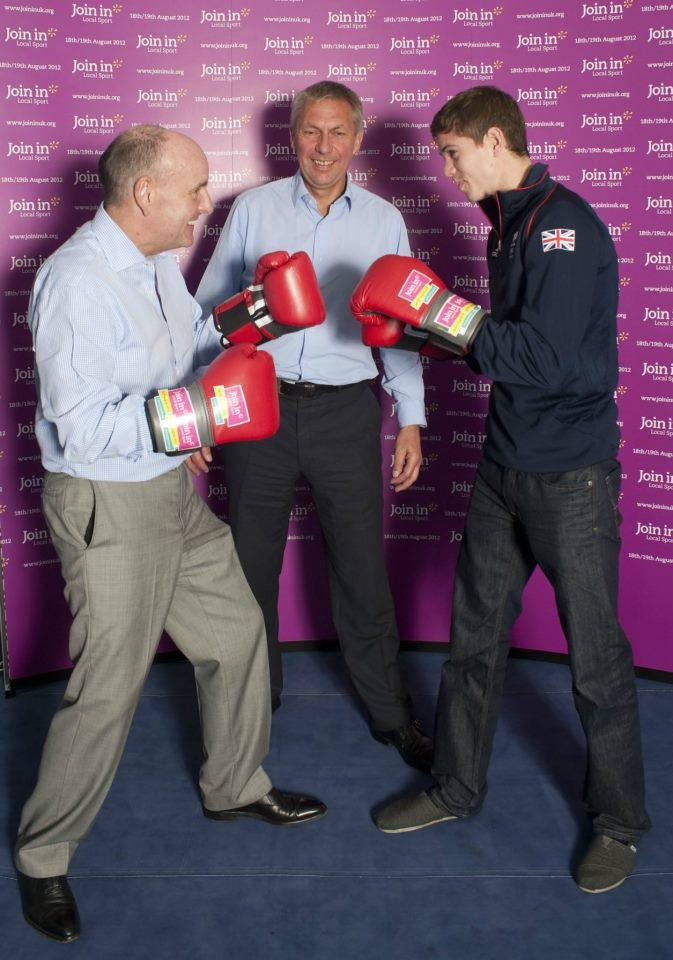 Join In's David Moorcroft referees Sir Charles Allen and Team GB boxer Luke Campbell at Broad Street ABC.