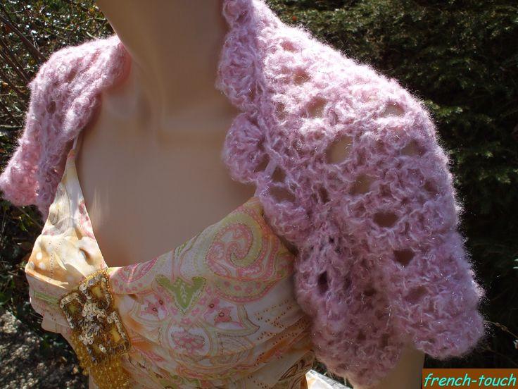 Bol ro couvre paules rose pastel en laine et lurex argent pour femme ou ado - Accessoires mode ado fille ...