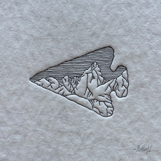 Arrow, mountains- without the small lines on top