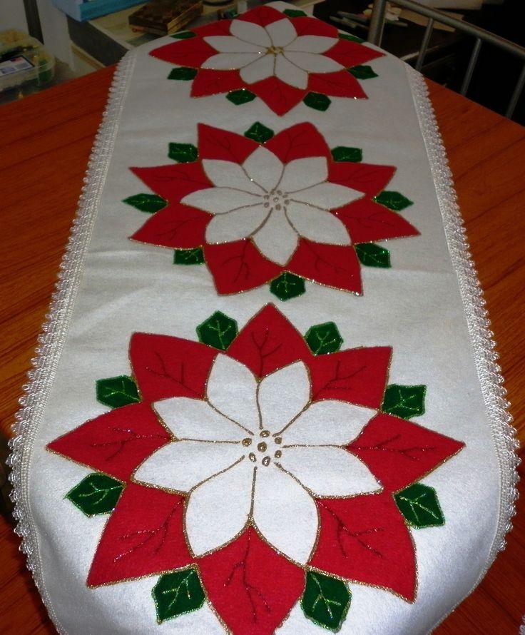 Hermoso Camino de mesa realizado en fieltro.