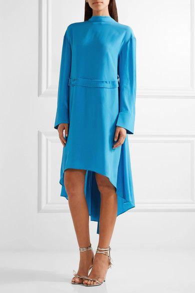 Cédric Charlier - Crepe De Chine Dress - Bright blue - IT42