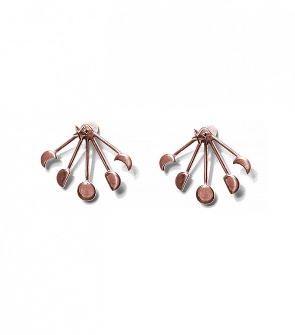 Pamela Love Exclusive Moonphase Ear Jackets in Rose Gold Plate
