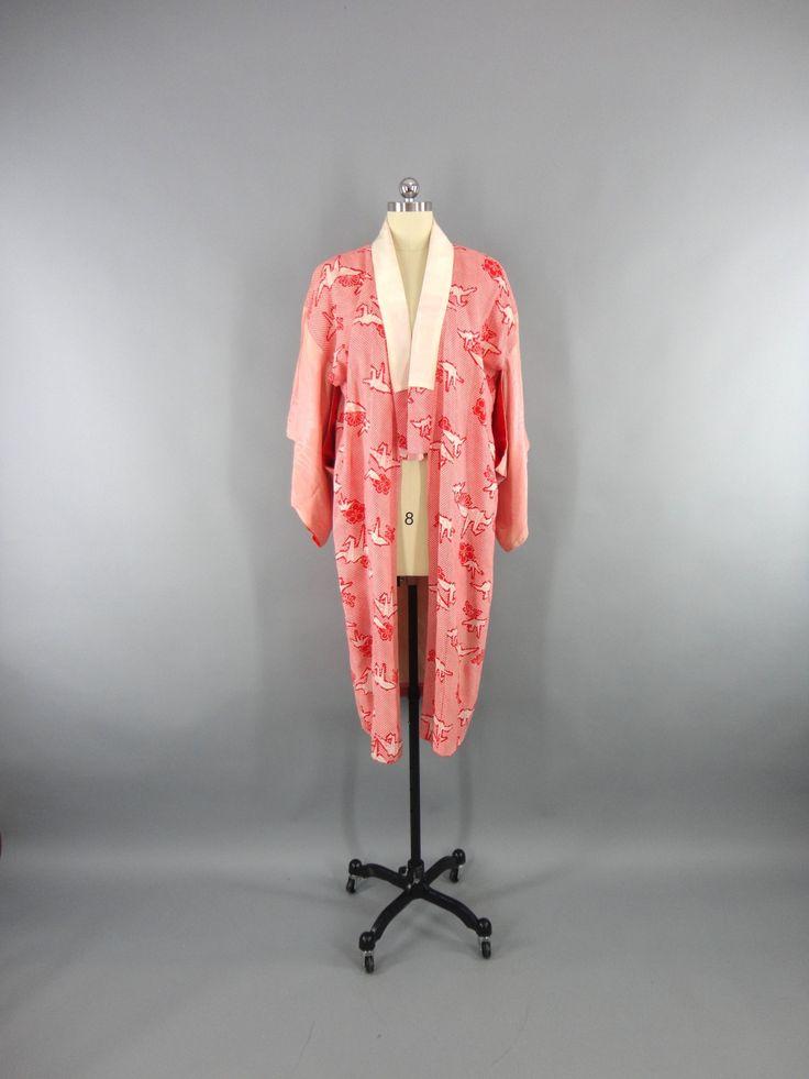 1930s Vintage Silk Kimono Robe in Red Origami Shibori