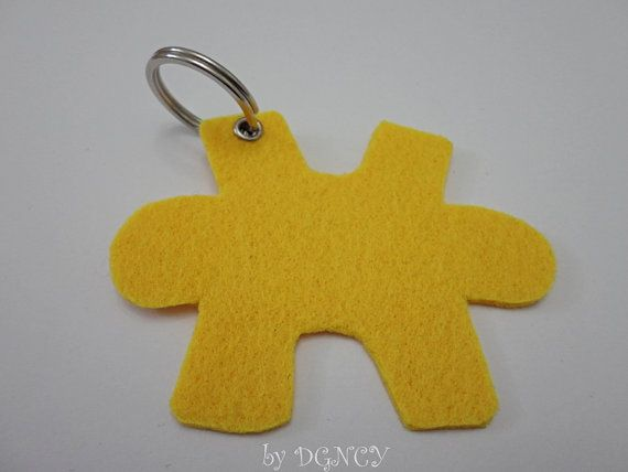 Yellow puzzle piece felt keychainFelt keychain in by DGNCY on Etsy