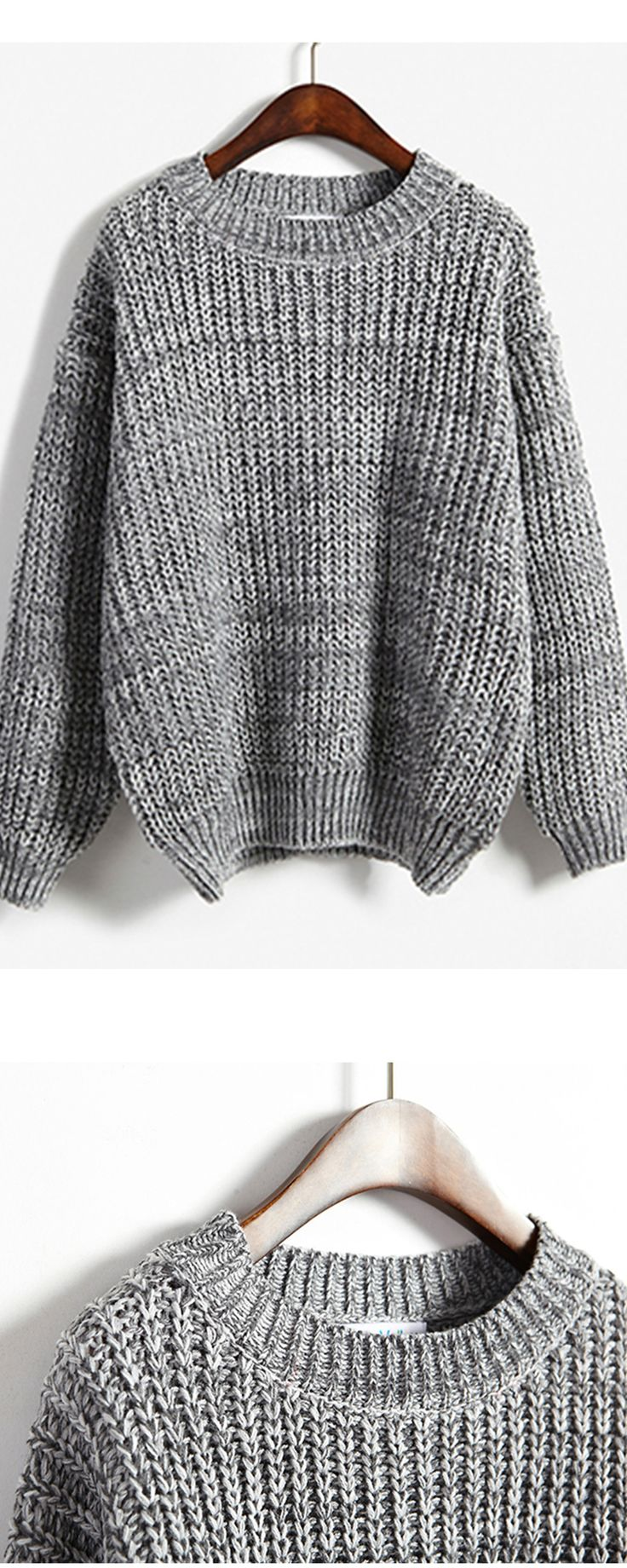 Warm knitwear at romwe.com. Loose Grey Dolman Sweater. Take it with 60% off yout 1st with free shipping!