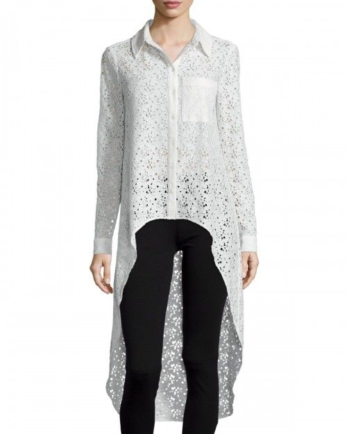 Haute+Hippie+the+Lace+Caravan+Collared+High+Low+Blouse+Swan+Women's+|+Top+and+Clothing