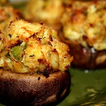 Crab Stuffed Mushrooms- Stuffer mushroom caps, filled with a crabmeat stuffing and baked.