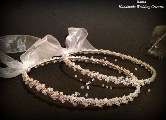 Buy Handmade Swarovski Stefana / Greek Orthodox Wedding crowns.Silver Plated Wedding headband Στεφανα.Stephana.SILVER BRAID by raniacreations. Explore more products on http://raniacreations.etsy.com