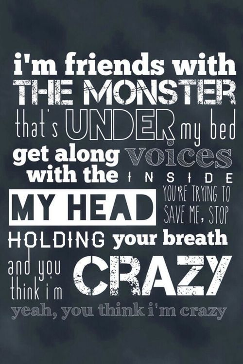 Iu0027m Friends With The Monster / Thatu0027s Under My Bed / Get Along With The  Voices Inside My Head / Youu0027re Trying To Save Me / Stop Holding Your Breath  / And ...