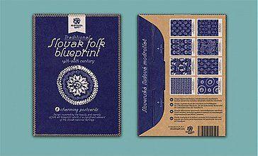 Papiernictvo - Pohľadnicový set - Modrotlač - 3079946