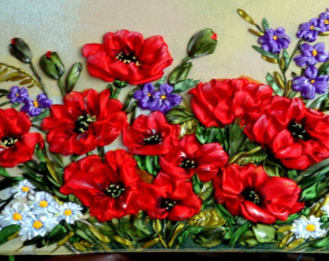 Silk Ribbon Embroidered Picture 3d Embroidery with ribbons on gobelin.120cm/ 50cm